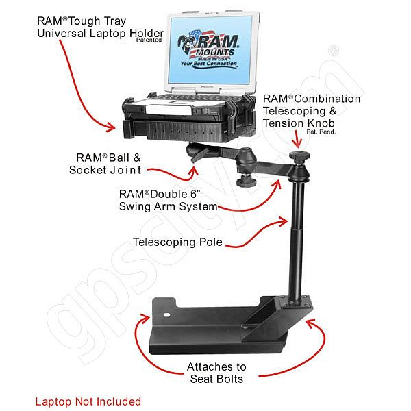 RAM Mount Dodge RAM Dual Arm Laptop Vehicle Riser Mount