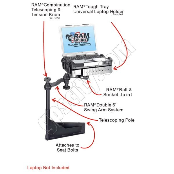 Ram mount semi truck with national seating captains chair laptop mount