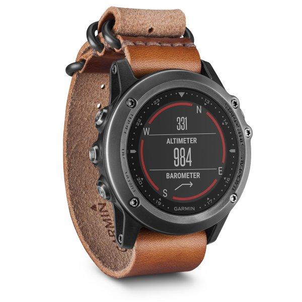 fenix 3 Sapphire Gray with Leather Band Multisport Training GPS Watch with  GLONASS