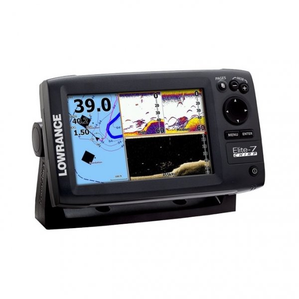 lowrance elite 7 chirp fishfinder and chartplotter with 83 200 transducer. Black Bedroom Furniture Sets. Home Design Ideas