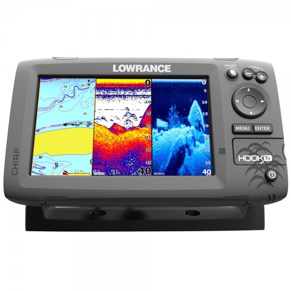 Hook-7 Chartplotter and Fishfinder with US and CAN Navionics Card and Mid  High Downscan Transducer
