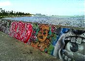 Awase Bay Seawall with Graffiti